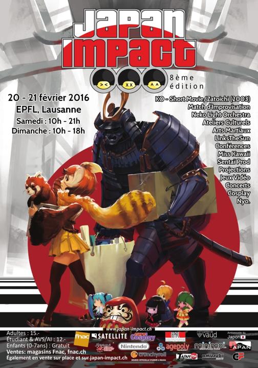 Affiche Japan Impact 2016 de PolyJapan (http://polyjapan.epfl.ch/)